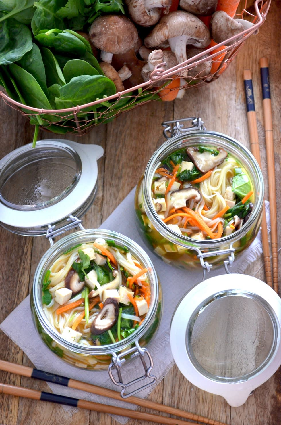 A recipe for Instant Noodle Soup Pots. Take the dry ingredients with you, e.g. to work. When you want your noodle soup, just pour boiling water in the jar, let sit for 2-3 minutes and you will have delicious, fresh, hot noodle soup. Recipe by That Healthy Kitchen