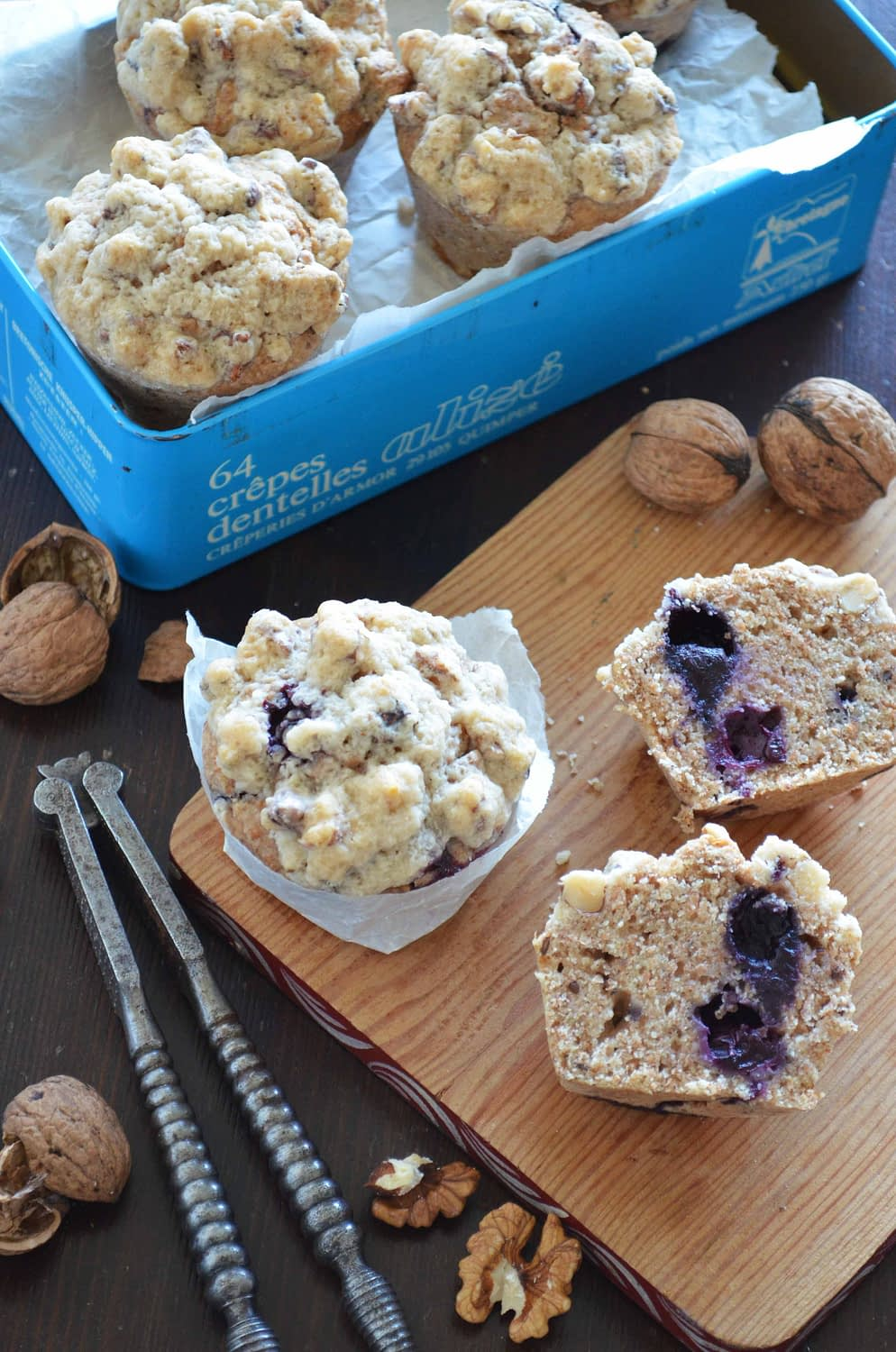 Blueberry Muffins with a Walnut Streusel Topping