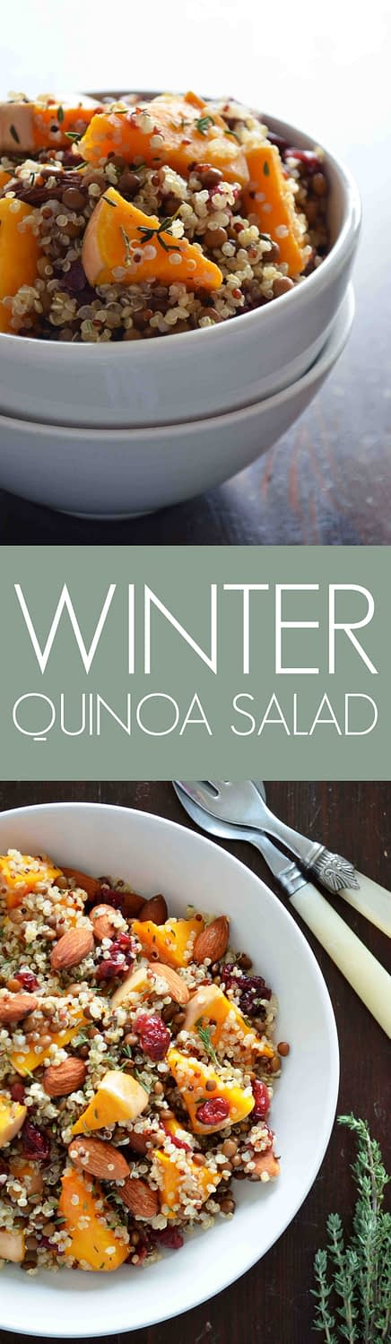 Recipe for Winter Quinoa Salad with thyme roasted butternut squash, almonds, quinoa, lentils, cranberries and a tangy orange vinaigrette. It is basically heaven in a bowl! {vegan, gluten free, paleo}