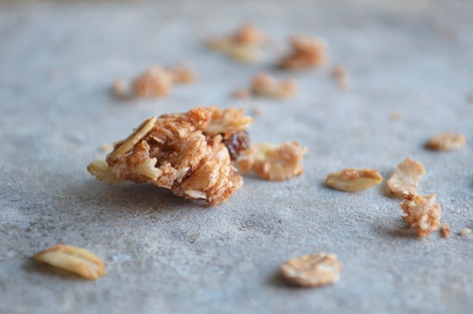 A photo of a granola cluster. Recipe and photo by That Healthy Kitchen