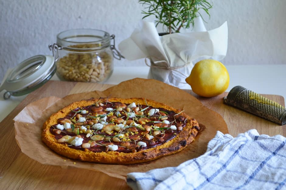Sweet potato crust pizza with goat cheese, rosemary, and lemon. Photo and recipe by That Healthy Kitchen