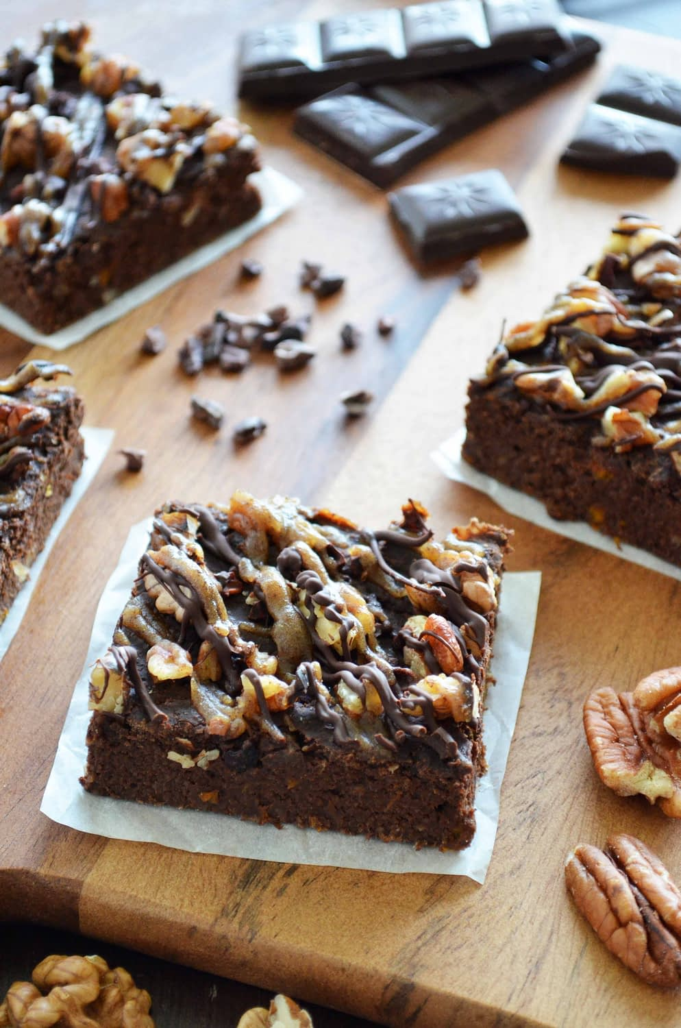 Pumpkin Brownies with Nuts and a Chocolate and Date Caramel Drizzle