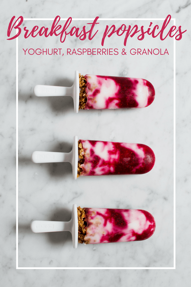 Breakfast popsicles with yoghurt, raspberries and granola via That Healthy Kitchen