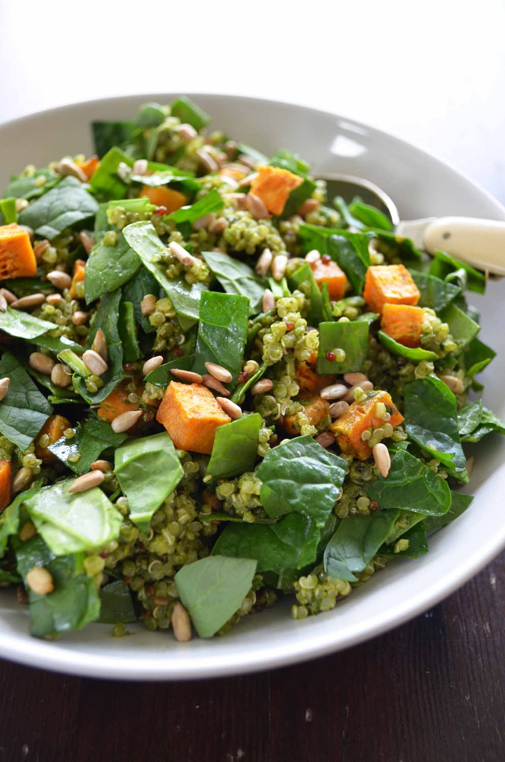 Quinoa Salad with a Creamy Pesto Dressing, Spinach and Sweet Potato