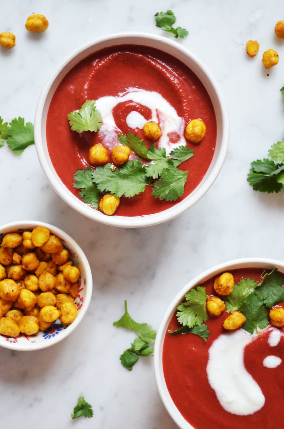 Recipe for curried beet soup with madras roasted chickpeas
