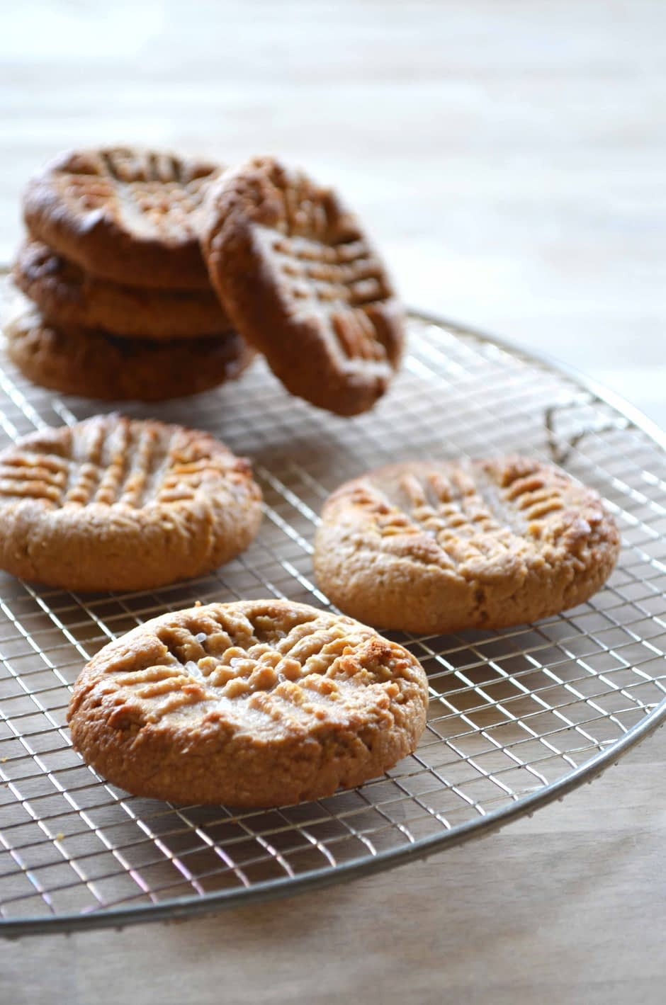 Salted peanut butter cookies. Photo and recipe by That Healthy Kitchen