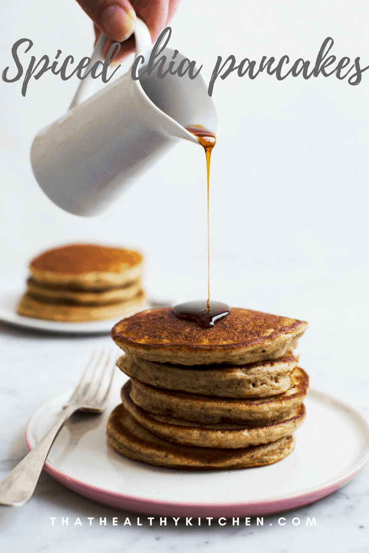 5 ingredient chia pancakes spiced with herbal tea! Recipe via That Healthy Kitchen