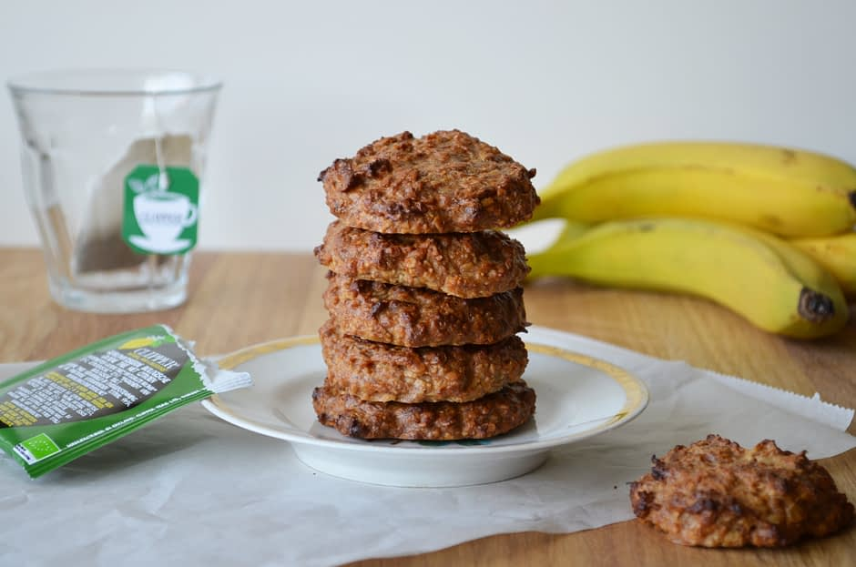 A photo of a stack of banana peanut butter cookies. Recipe by That Healthy Kitchen