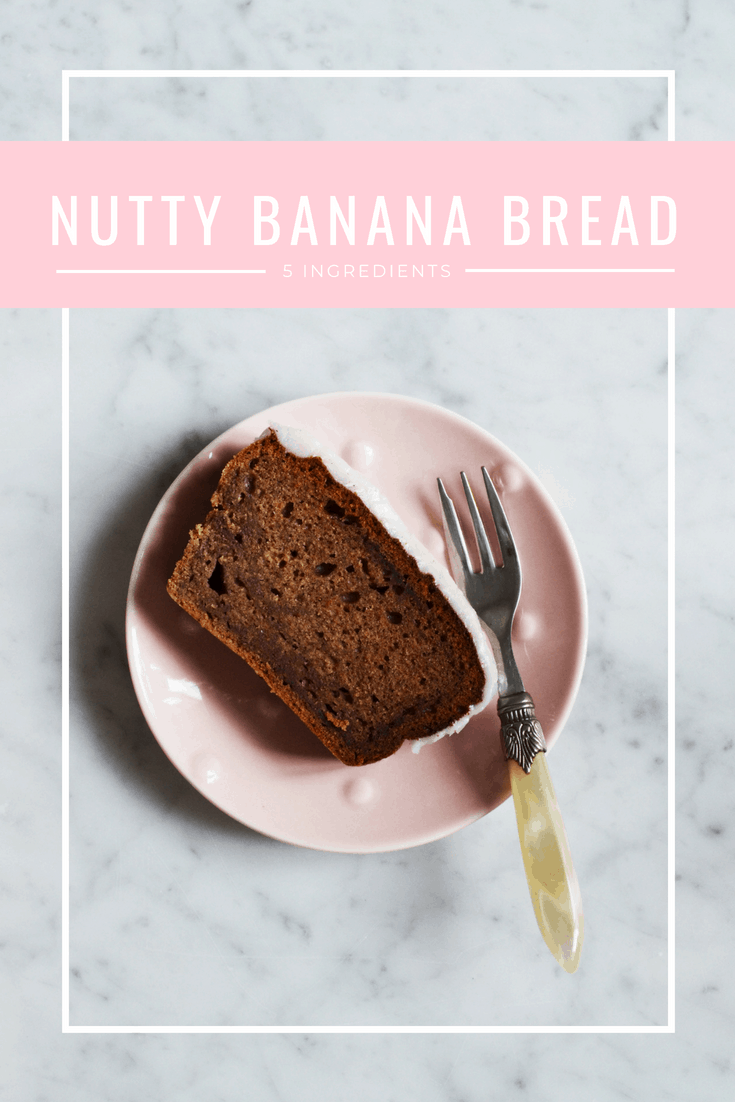 5 ingredient banana bread with walnuts. Recipe via That Healthy Kitchen